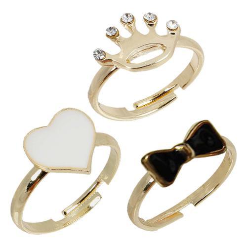 BMC 3pc Adjustable White Heart Black Bow Crown Gold Color Fashion Midi Rings