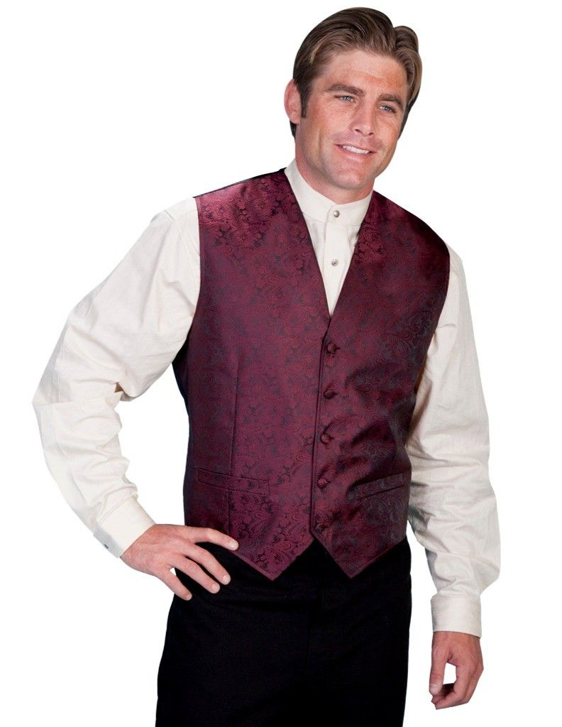 Scully Western Vest Mens Manly Quality Lined Paisley Button RW093N