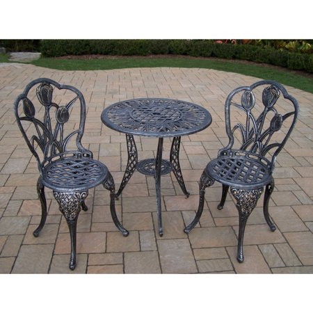 Oakland Living Corporation Tierra 3 Piece Bistro Set With 26 Inch Table And 2 Chairs