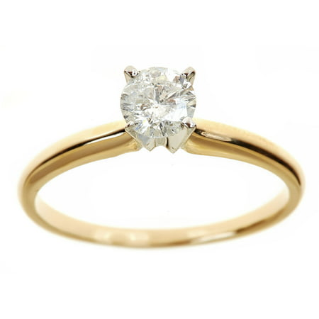 1 Carat T.W. Round White Diamond 14kt Yellow Gold Solitaire Ring, IGL (1 Carat Diamond Ring 14k Yellow Gold)