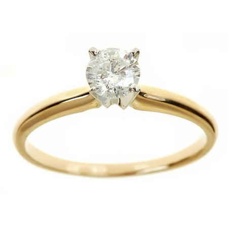 1 Carat T.W. Round White Diamond 14kt Yellow Gold Solitaire Ring, IGL (1 Carat Solitaire Diamond Ring Yellow Gold)
