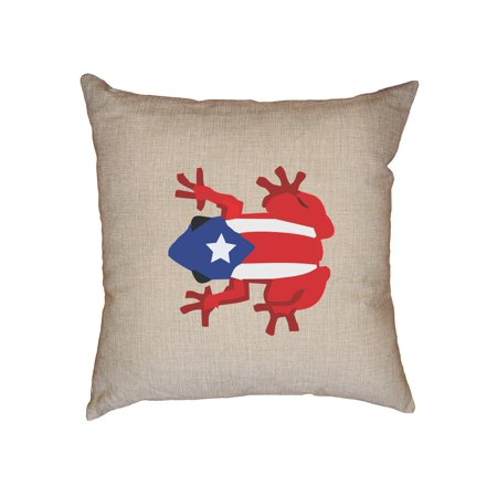Colorful Puerto Rico Flag Coqui Frog Graphic Decorative Linen Throw Cushion Pillow Case with