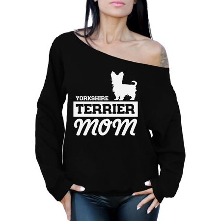 Awkward Styles Women's Yorkshire Terrier Mom Graphic Off Shoulder Tops Oversized Sweatshirt Yorkie - Yorkshire Terrier Sweatshirt