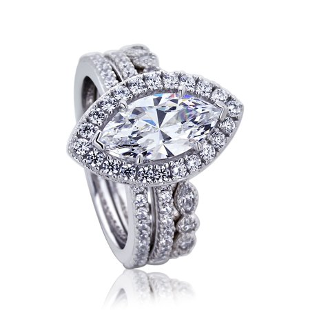 Platinum Band Set (Platinum Plated Sterling Silver 1.5ct Marquise CZ Eternity Band Wedding Bridal Ring Set ( Size 5 to 9 ),)
