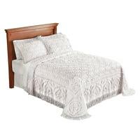 Elegant Victoria Plush Chenille Bedspread with Fringe Border and Ring Design