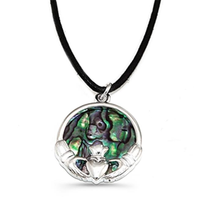 88 Imports AN0144 Paua Abalone Shell Necklace - Claddagh Symbol