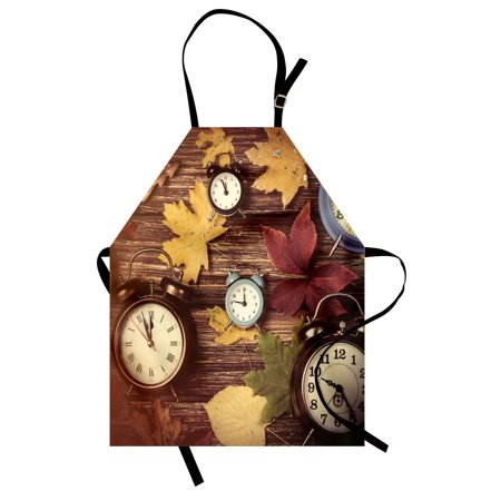 Fall Apron Different Colored Dry Maple Leaves and Various Alarm Clocks on Wooden Planks Print, Unisex Kitchen Bib Apron with Adjustable Neck for Cooking Baking Gardening, Multicolor, by Ambesonne