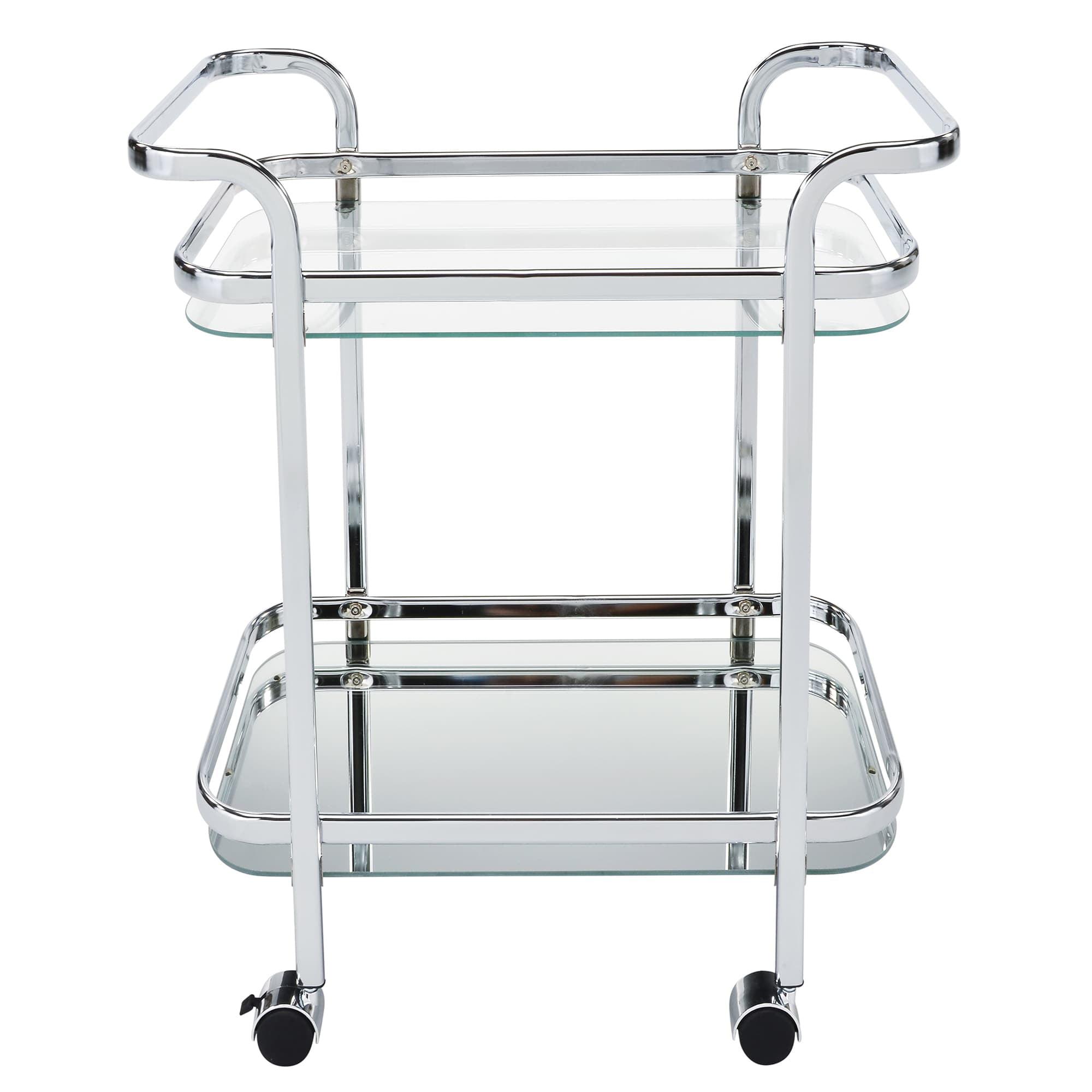 2 Tier Chrome/Glass Bar Cart