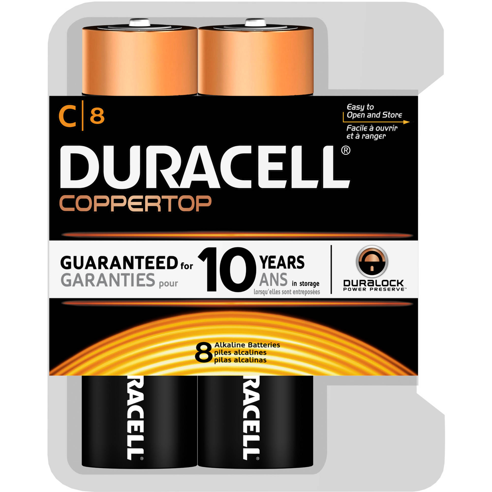 Duracell CopperTop C Alkaline Batteries, 8 count