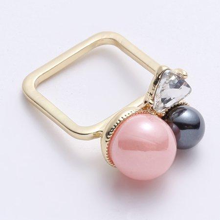 JASSY Cute Pink Pearl Square Ring Fashion Jewelry Rhinestone for Women - image 1 de 4