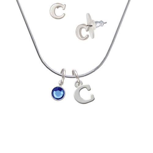 Crystal Blue Channel Drop - C Initial Charm Necklace and Stud Earrings Jewelry Set