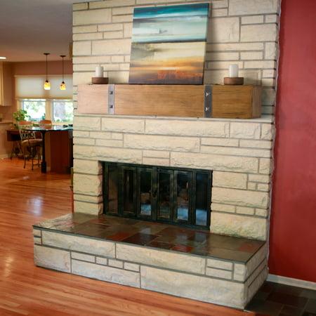 Belham Living Rustic Timber Beam Fireplace Mantel - Rustic Mantel Decor