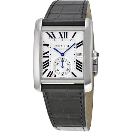 Cartier Men's Tank MC Black Leather Band Steel Case Automatic Silver-Tone Dial Analog Watch W5330003 Tank Silver Dial