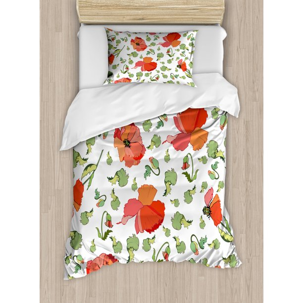 Poppy Duvet Cover Set Buds Stems And Flower Heads Scattered Hand Drawn Style Rural Inflorescence Decorative Bedding Set With Pillow Shams Vermilion Green Coral By Ambesonne Walmart Com Walmart Com