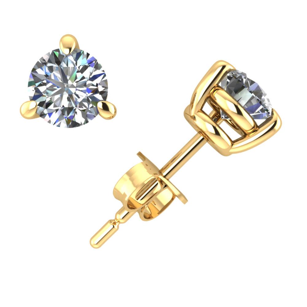 0.40Ct Round Diamond Basket Stud Earrings 14k Yellow Gold 3Prong Setting I SI2