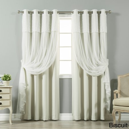 Aurora Home Tulle Sheer With Attached Valance Amp Solid