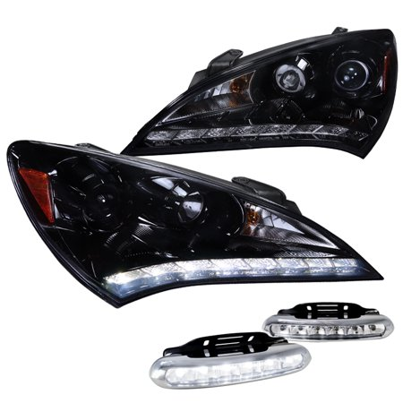 Spec D Tuning For 2010 2011 2012 Hyundai Genesis Coupe 2 Door Halo Led Glossy Black Projector Headlights Led Fog Lights 2010 2011 2012 Left Right
