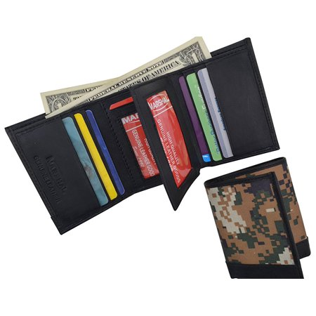 RFID Camouflage Blocking Men's Leather Camo Classic Trifold ID Card Holder Wallet
