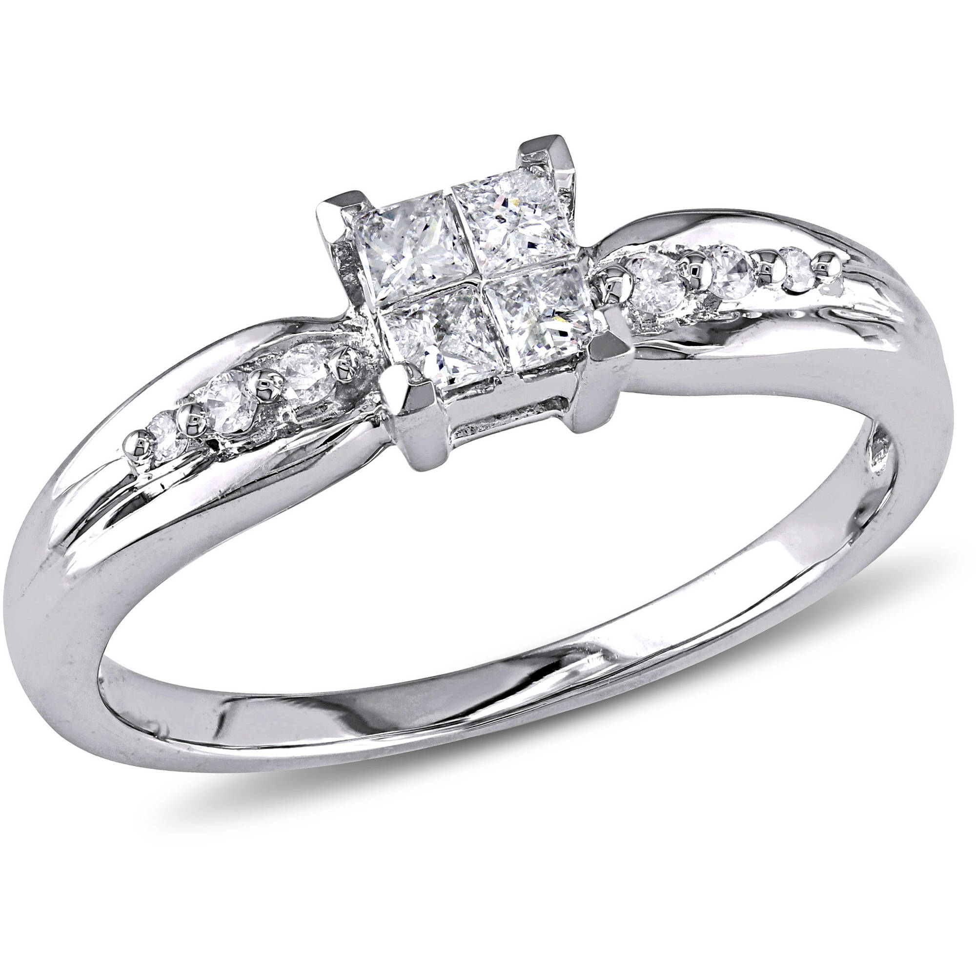1/4 Carat T.W. Princess and Round-Cut Diamond Engagement Ring in 10k White Gold