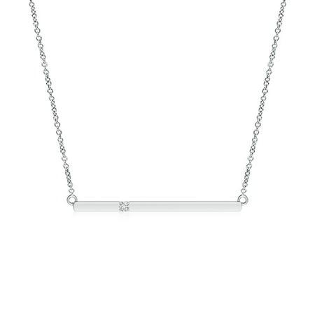 Valentine Jewelry gift - Solitaire Diamond Bar Pendant Necklace in 14K White Gold (1.7mm Diamond) - SP0786D-WG-HSI2-1.7 (Bear Diamond Pendant)