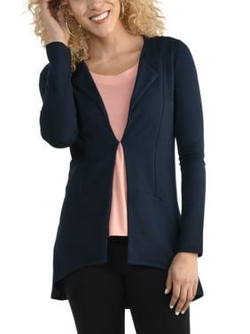 Seek No Further Women's Open Front Long Sleeve Ponte Stretch Jacket