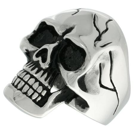 Stainless Steel Skull Ring Cracks on Forehead and Sides Biker Rings for men sizes 9 - 15