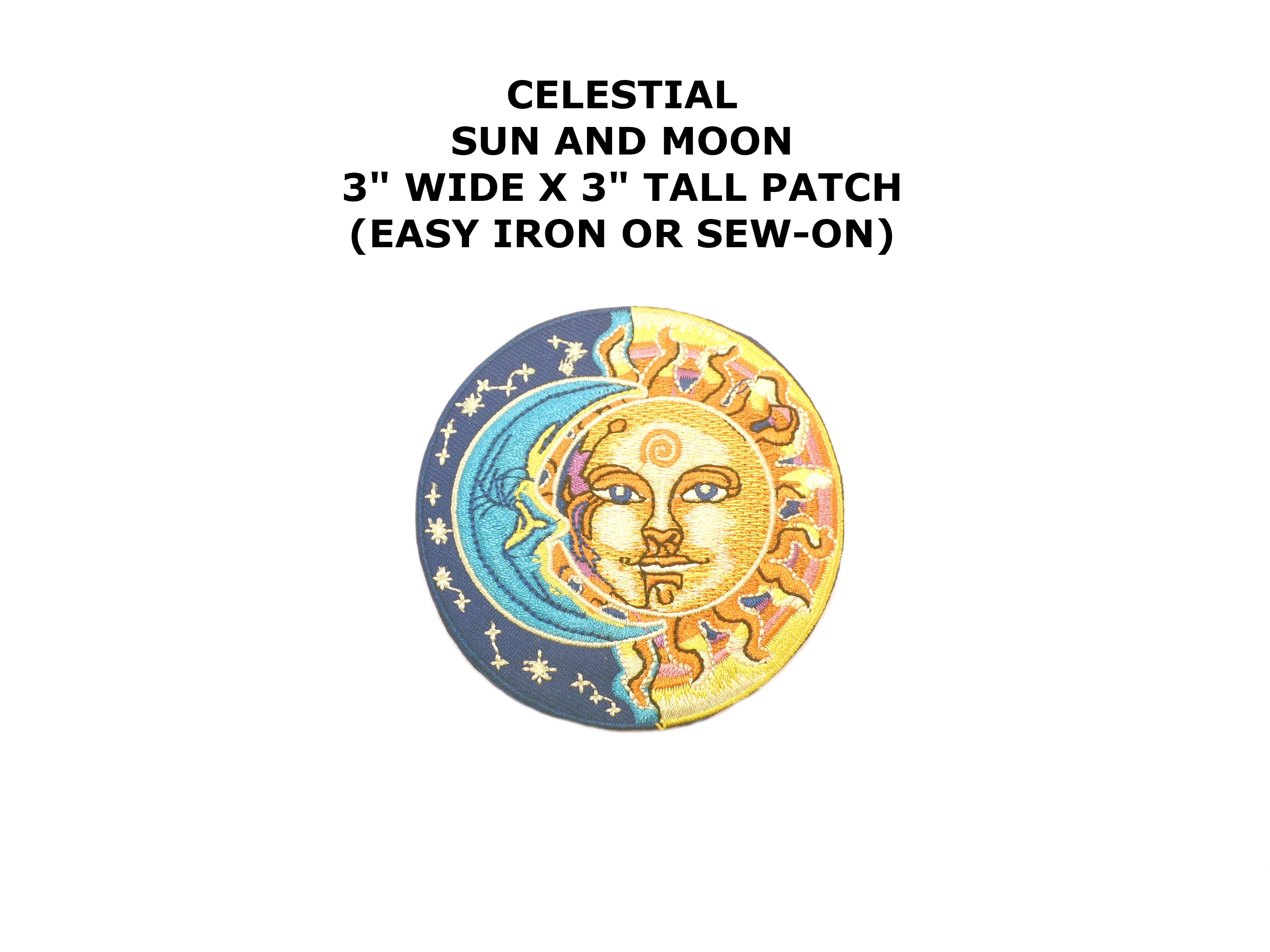 Celestial Half Sun Half Moon Embroidered Iron Sew On Comics Cartoon Theme Logo Patch Applique Walmart Com Walmart Com