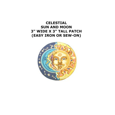 Celestial Half Sun/Half Moon Embroidered Iron/Sew-on Comics Cartoon Theme Logo Patch/Applique