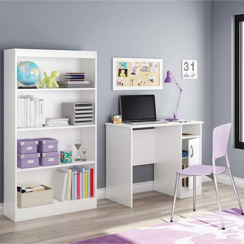 South Shore Smart Basics Small Work Desk and 4-shelf Bookcase, Multiple Finishes