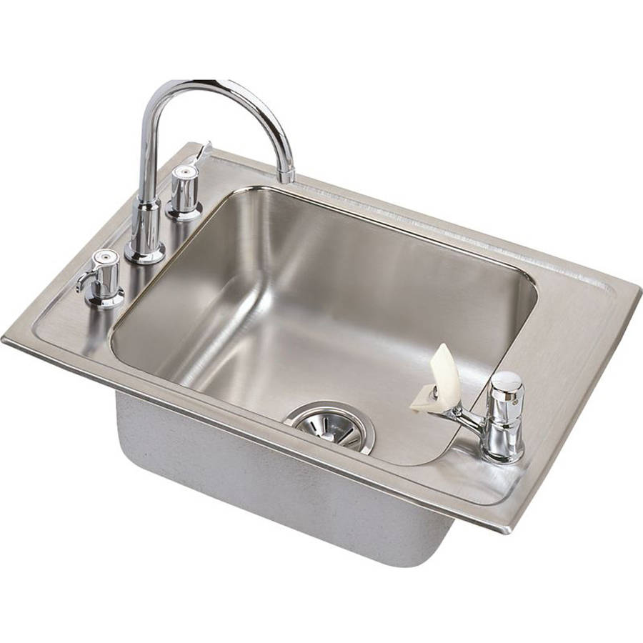 Elkay DRKR2517C Lustertone Stainless Steel Single Bowl Top Mount Sink and Faucet Kit with 4 Faucet Holes
