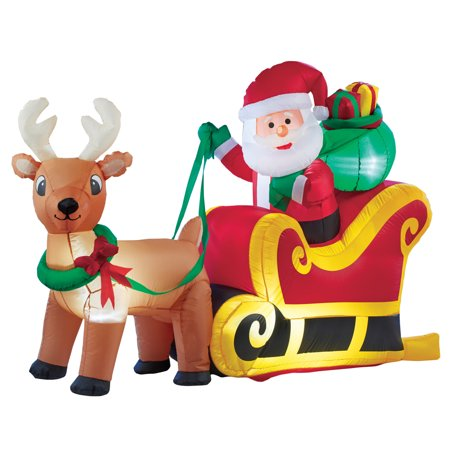 Inflatable Santa Claus With Sleigh Outdoor Christmas Decoration