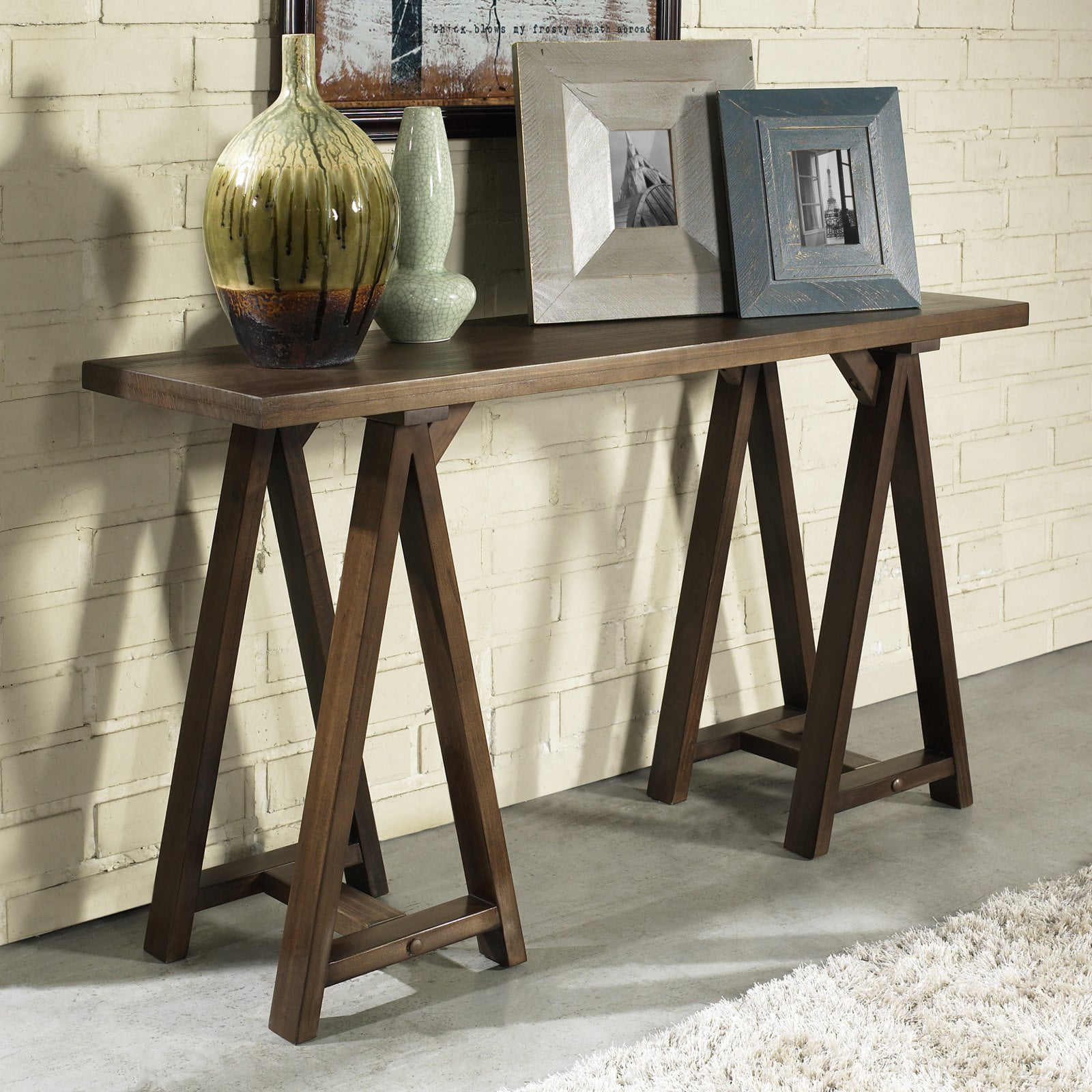 Simpli Home Sawhorse Console Sofa Table by CCT Global Sourcing Inc