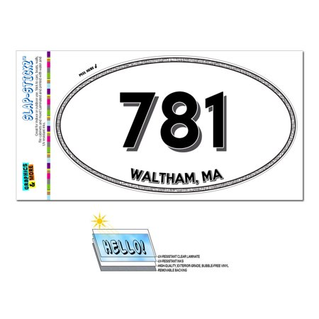 781 - Waltham, MA - Massachusetts - Oval Area Code Sticker