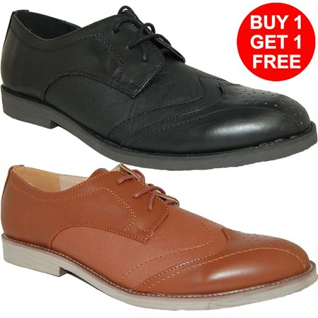 KRAZY SHOES Free Pair - Buy 1 Leather Lined Black - Brown Mens