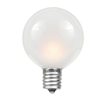 Novelty Lights G50 Outdoor Globe Replacement Bulbs, E12/C7 Base, Frosted White, 25 Pack ()