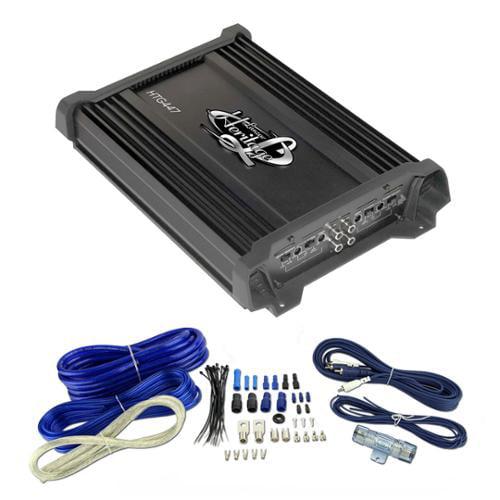 LANZAR HTG447 2000W 4 Channel Car Digital Amplifier + 4 Gauge Amp Install Kit