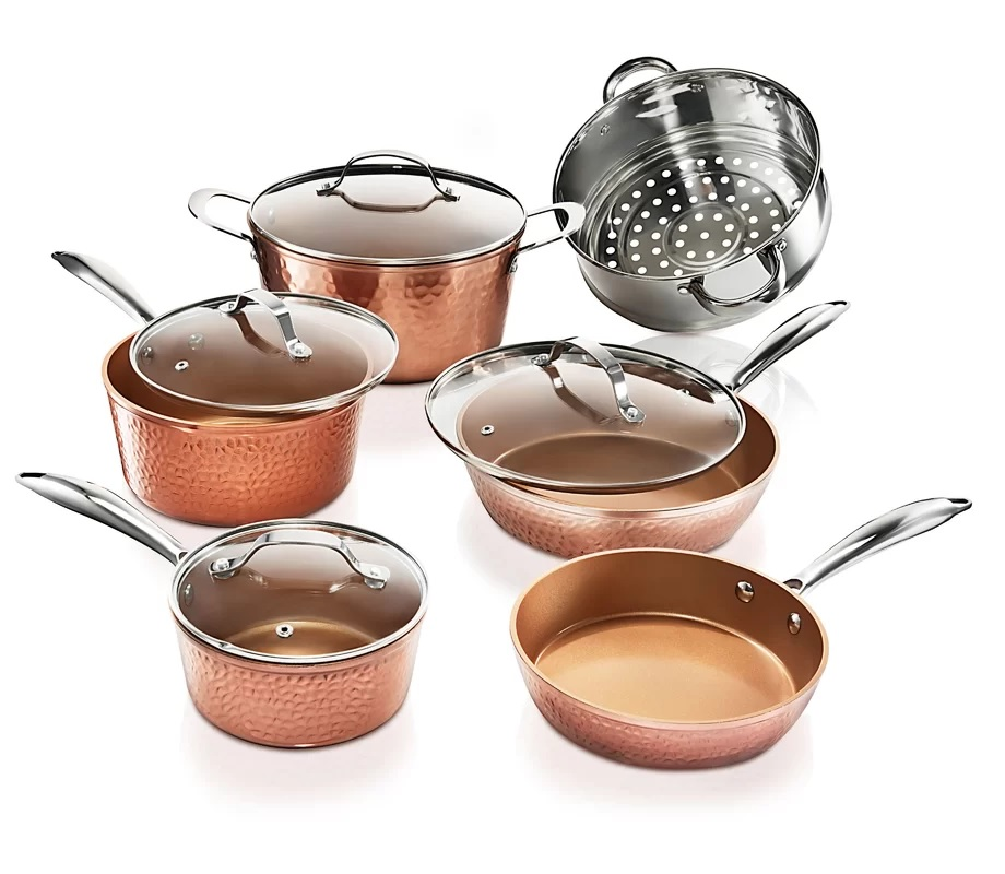 Gotham Steel Hammered Collection Pots and Pans Set, 10 Piece Premium Cookware Set with Nonstick Coating, Dishwasher and Oven Safe, Copper