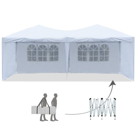 Pop-Up Canopy Tent With Sidewalls 10' x 20' Outdoor Party Gazebo Tent