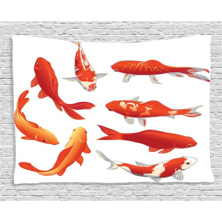 Ocean Animal Decor Tapestry, Legendary Koi Fish Band Chinese Good Fortune and Power Icon Tranquil , Wall Hanging for Bedroom Living Room Dorm Decor, 60W X 40L Inches, Orange White, by Ambesonne