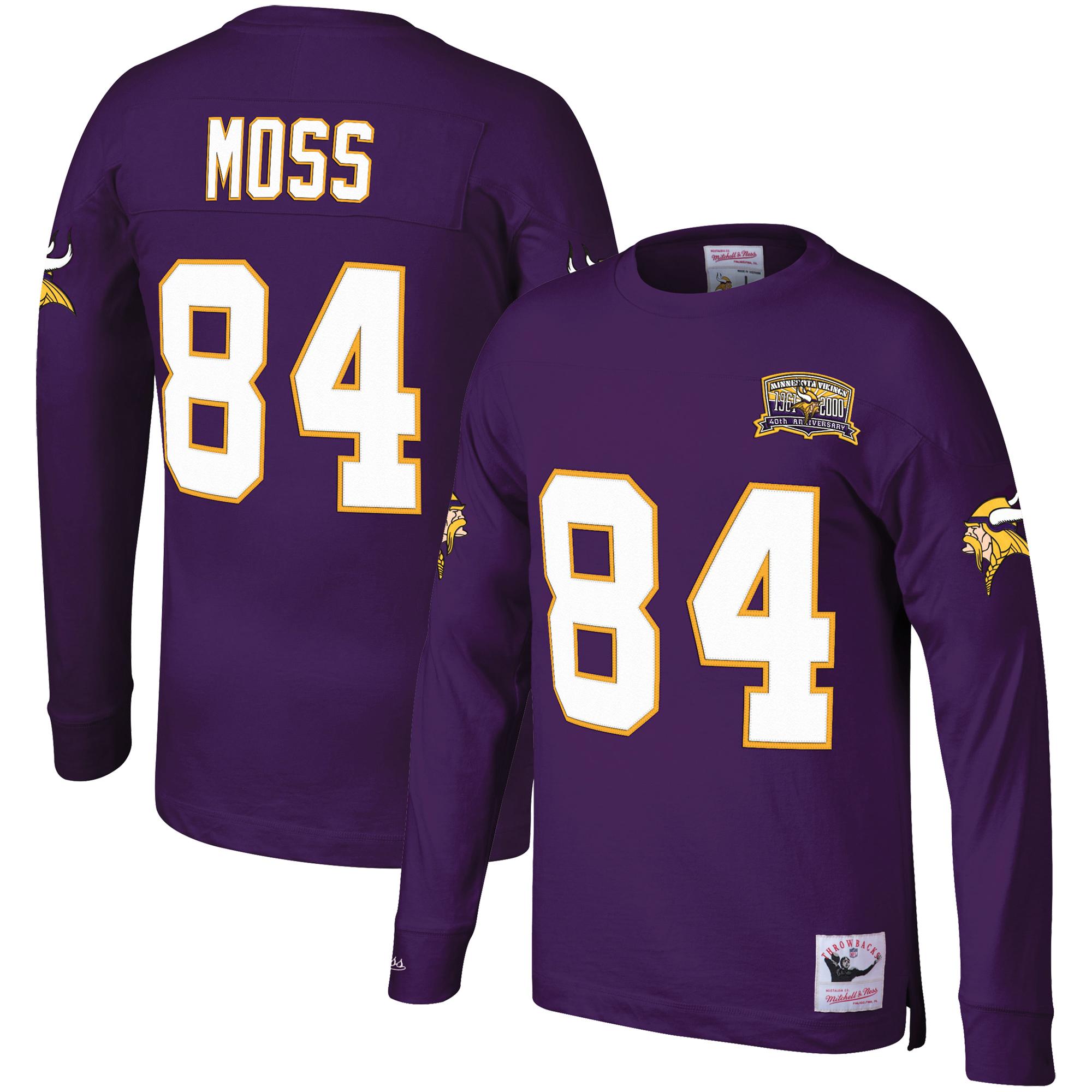 Randy Moss Minnesota Vikings Mitchell & Ness Player Throwback Name & Number Long Sleeve T-Shirt - Purple