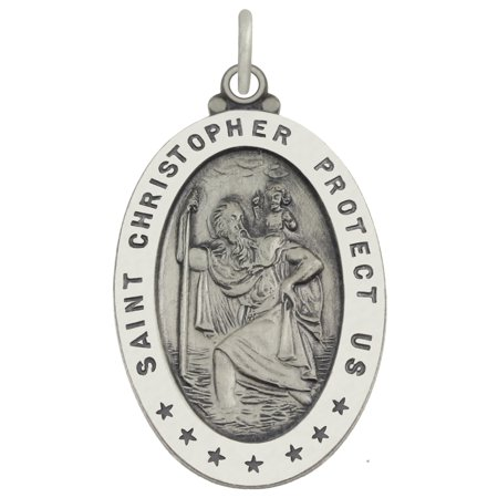 Child Medal Pendant - 1.0in 0.925 Sterling Silver St Saint Christopher Medal Oval Pendant