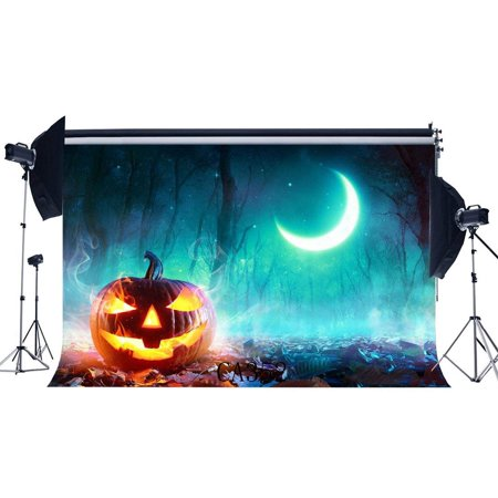 ABPHOTO Polyester 7x5ft Photography Backdrops Halloween Horror Night Mysterious Moon Dreamy Forest Pumpkin Scene Seamless Newborn Baby Adults Masquerade Portraits Photo Background Photo Studio - Halloween Forest Scene