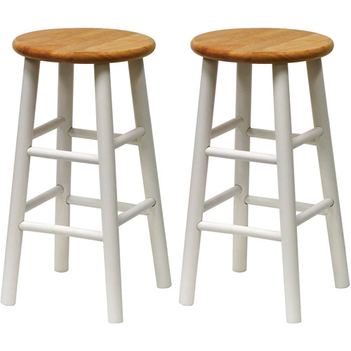 "Beech Wood Counter Stools 24"", Set of 2, White and Natural"