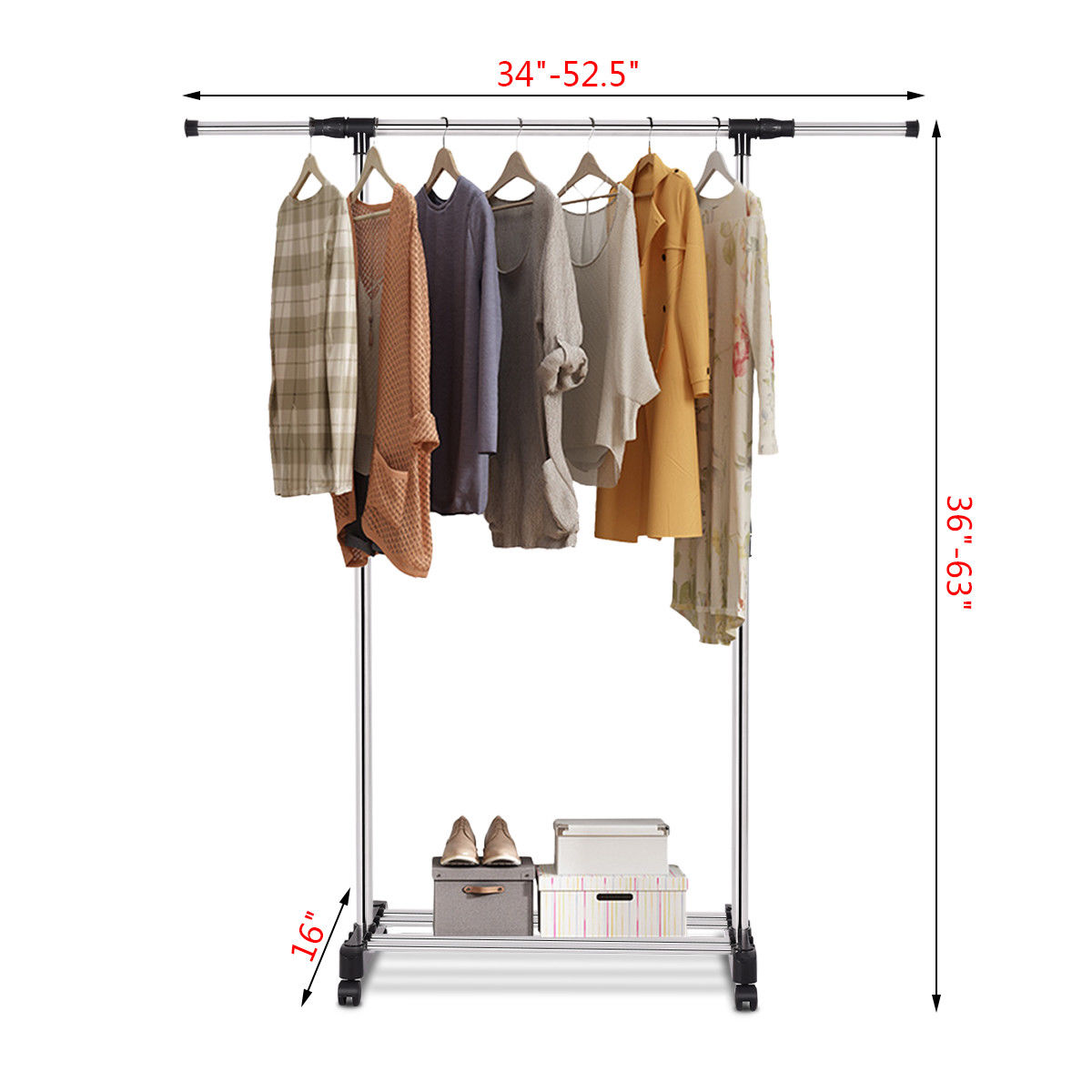 36-in W Garment Rack Closet Shelf Organizer Hanger Clothes Heavy Duty Rolling