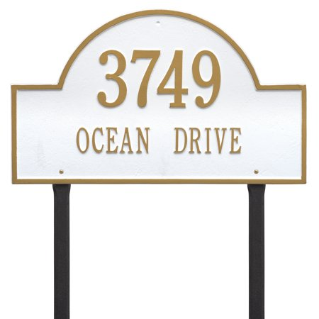 Personalized Whitehall Products Estate Lawn 2-Line Arch Marker in White/Gold