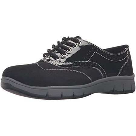 Suede Womens Oxford - Easy Street Womens Lucky Faux Suede Patent Trim Oxford Brogue