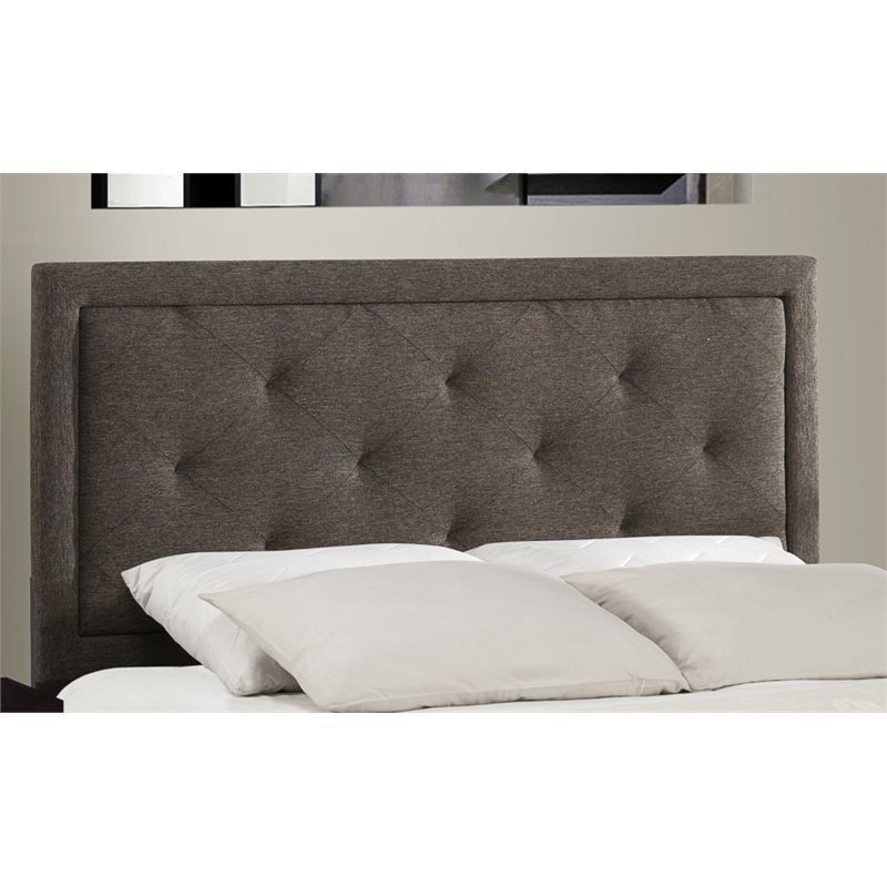 Becker Upholstered Queen Bed, Black/Brown (Box 1 of 2)
