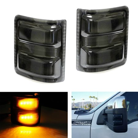 iJDMTOY 2PCS Smoked Lens LED Side Mirror Marker Lights for 2008-2016 Ford F250 F350 F450 F550 Super Duty - Mirrors Smoke Led Lens