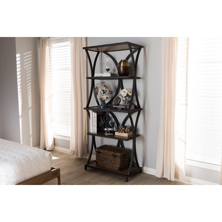 Baxton Studio Lancashire Rustic Industrial Style Oak Brown Finished Wood And Black Metal Bookshelf