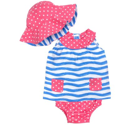 Gerber Baby Girl Dress, Diaper Cover & Reversible Hat, 3-piece - Personalized Infant Dresses